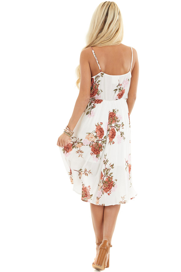Ivory Floral V Neck Surplice Dress with Spaghetti Straps back full body