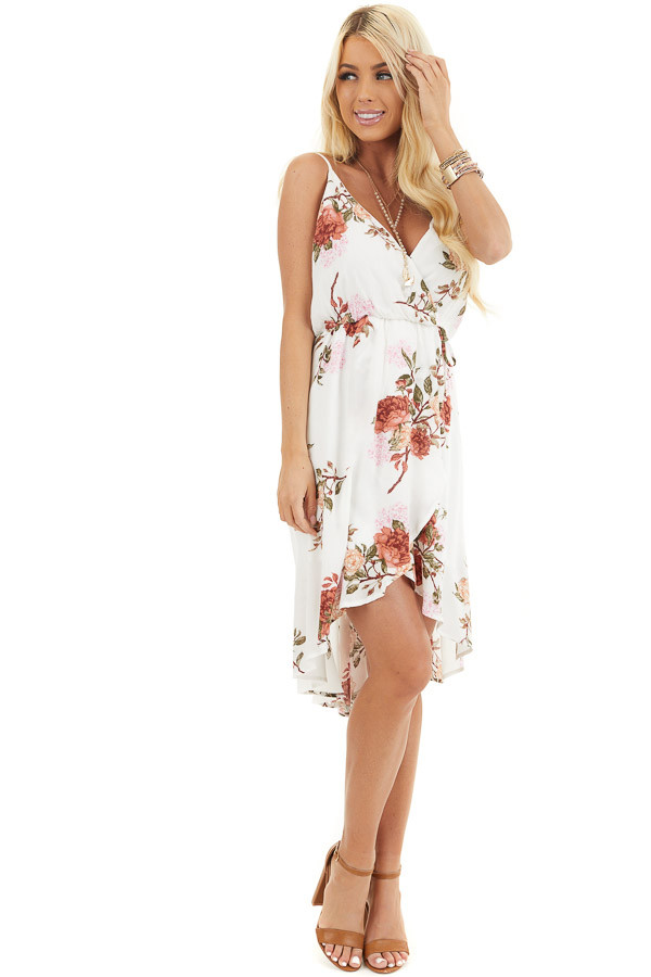 Ivory Floral V Neck Surplice Dress with Spaghetti Straps front full body
