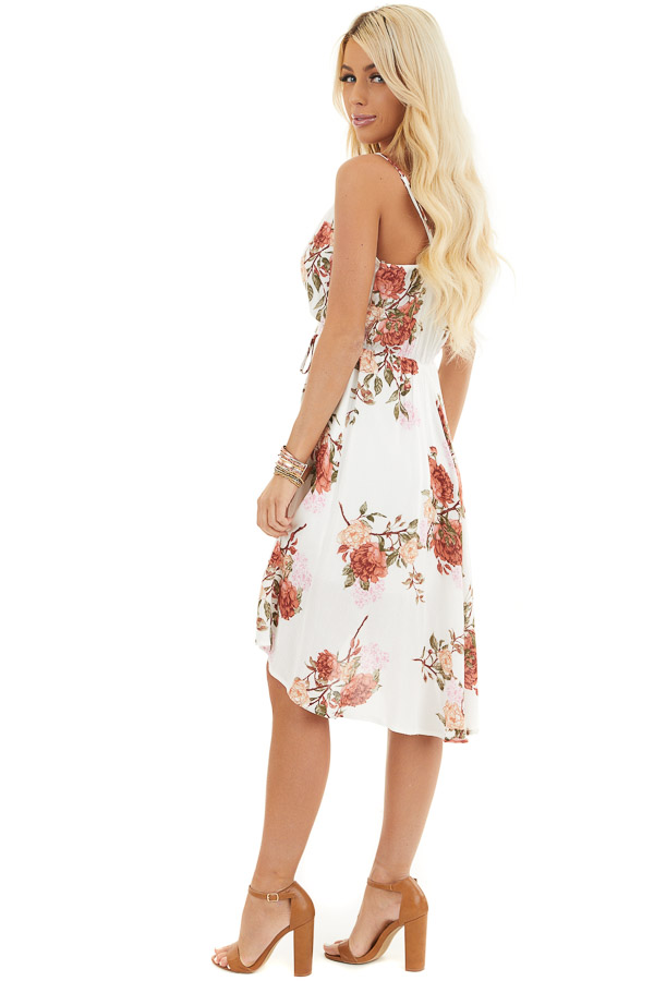 Ivory Floral V Neck Surplice Dress with Spaghetti Straps side full body