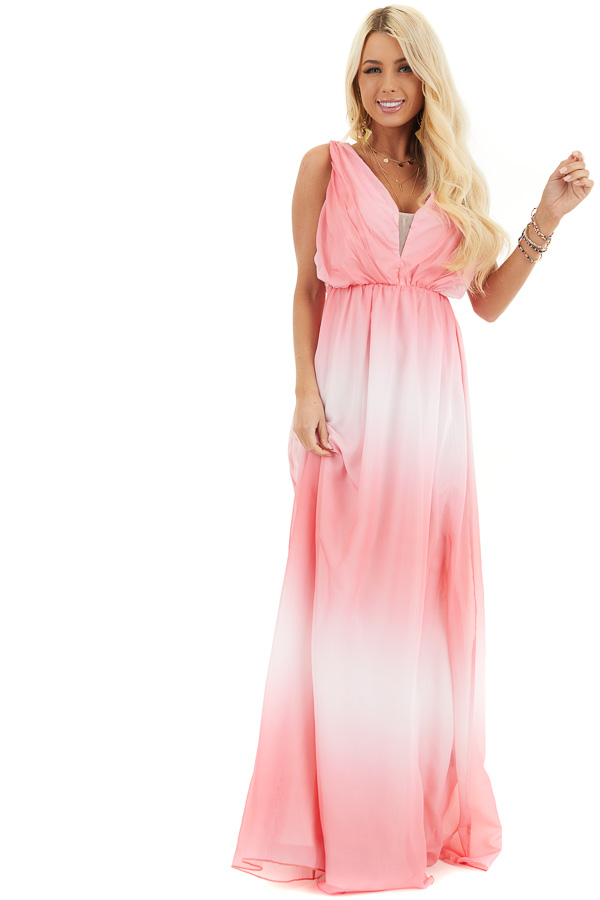 Bright Pink Ombre Maxi Dress with Gathered Details front full body