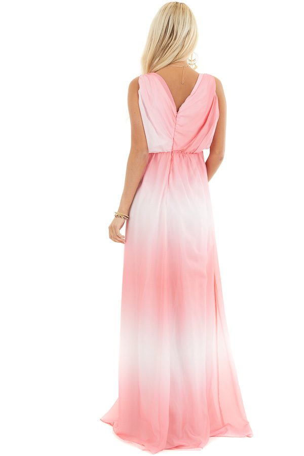 Bright Pink Ombre Maxi Dress with Gathered Details back full body