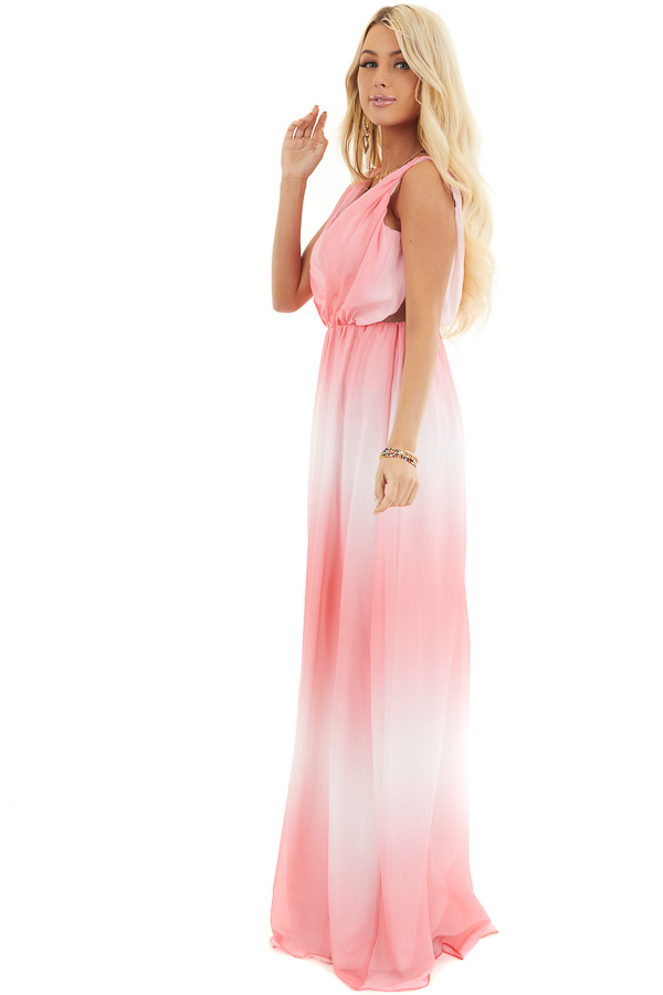 Bright Pink Ombre Maxi Dress with Gathered Details side full body