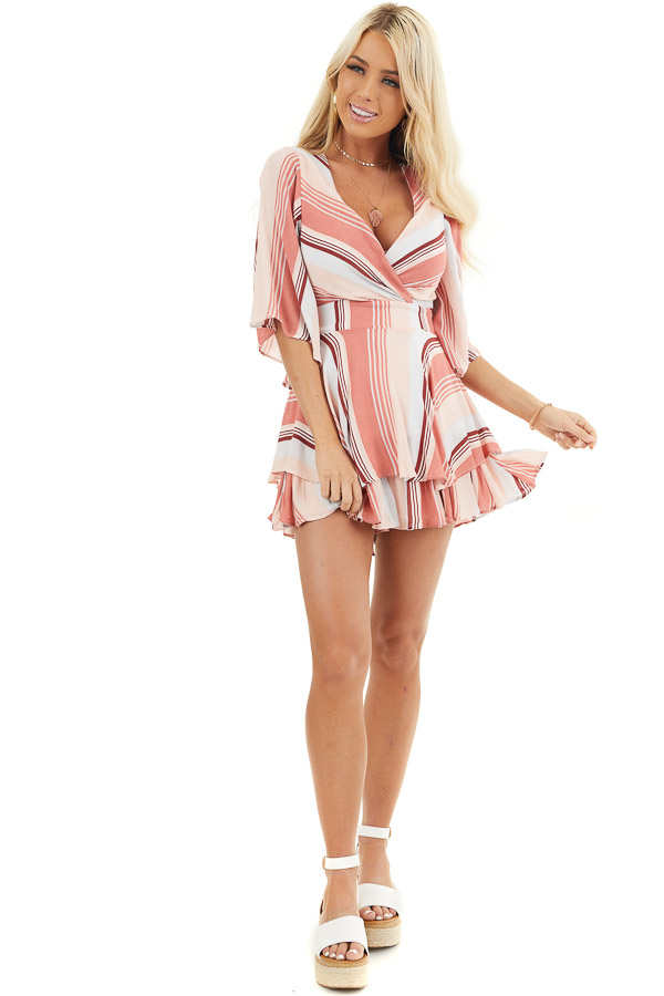 Coral and Blush Striped Woven Romper with Ruffle Detail front full body