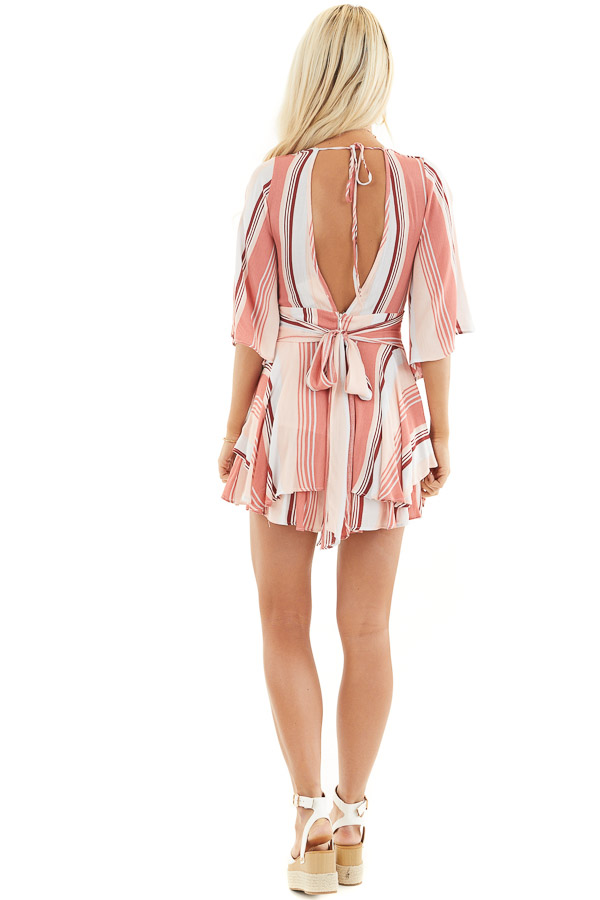 Coral and Blush Striped Woven Romper with Ruffle Detail back full body