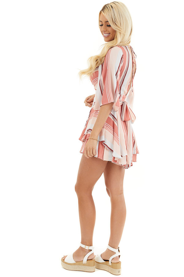 Coral and Blush Striped Woven Romper with Ruffle Detail side full body