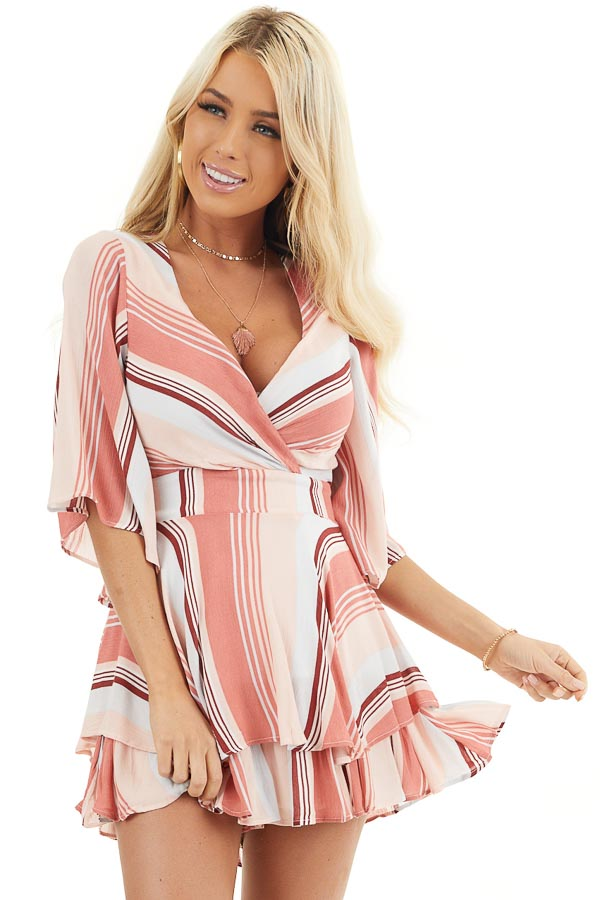 Coral and Blush Striped Woven Romper with Ruffle Detail front close up