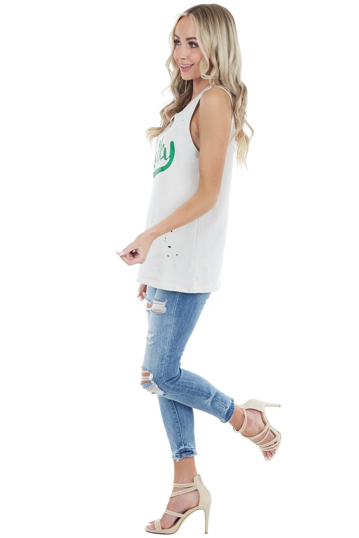 Cream 'Lucky' Print Tank Top with Distressed Details