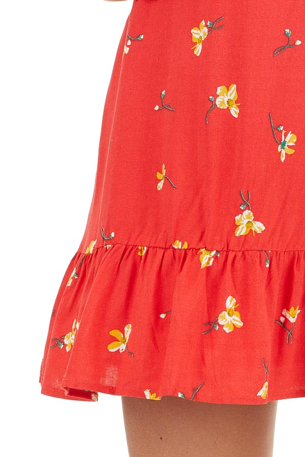 Red Floral Mini Dress with Ruffled Hemline and Buttons detail