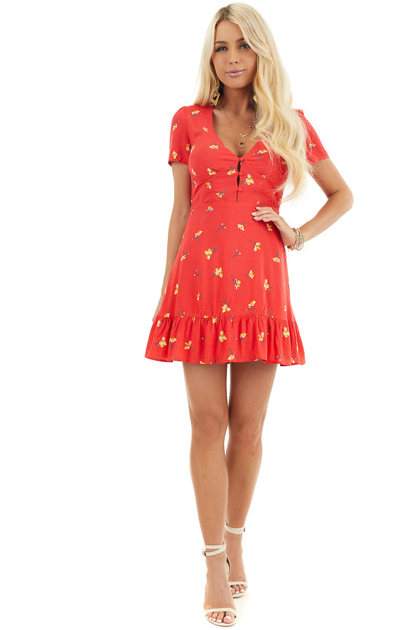 Red Floral Mini Dress with Ruffled Hemline and Buttons front full body