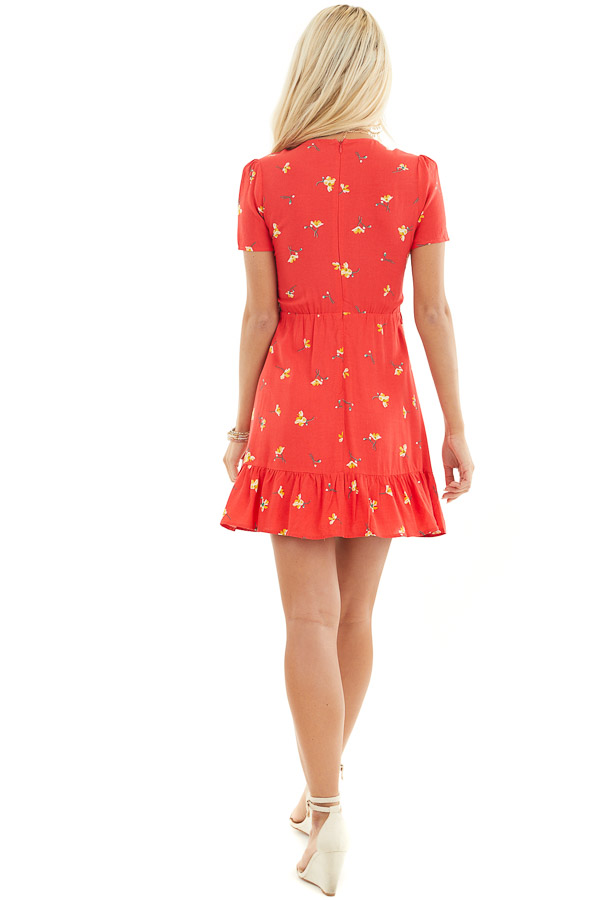 Red Floral Mini Dress with Ruffled Hemline and Buttons back full body