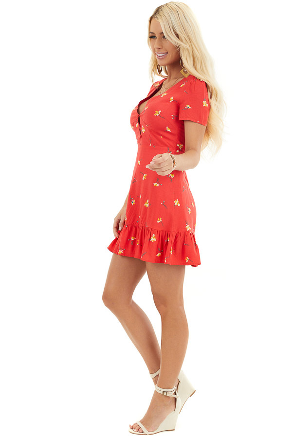 Red Floral Mini Dress with Ruffled Hemline and Buttons side full body