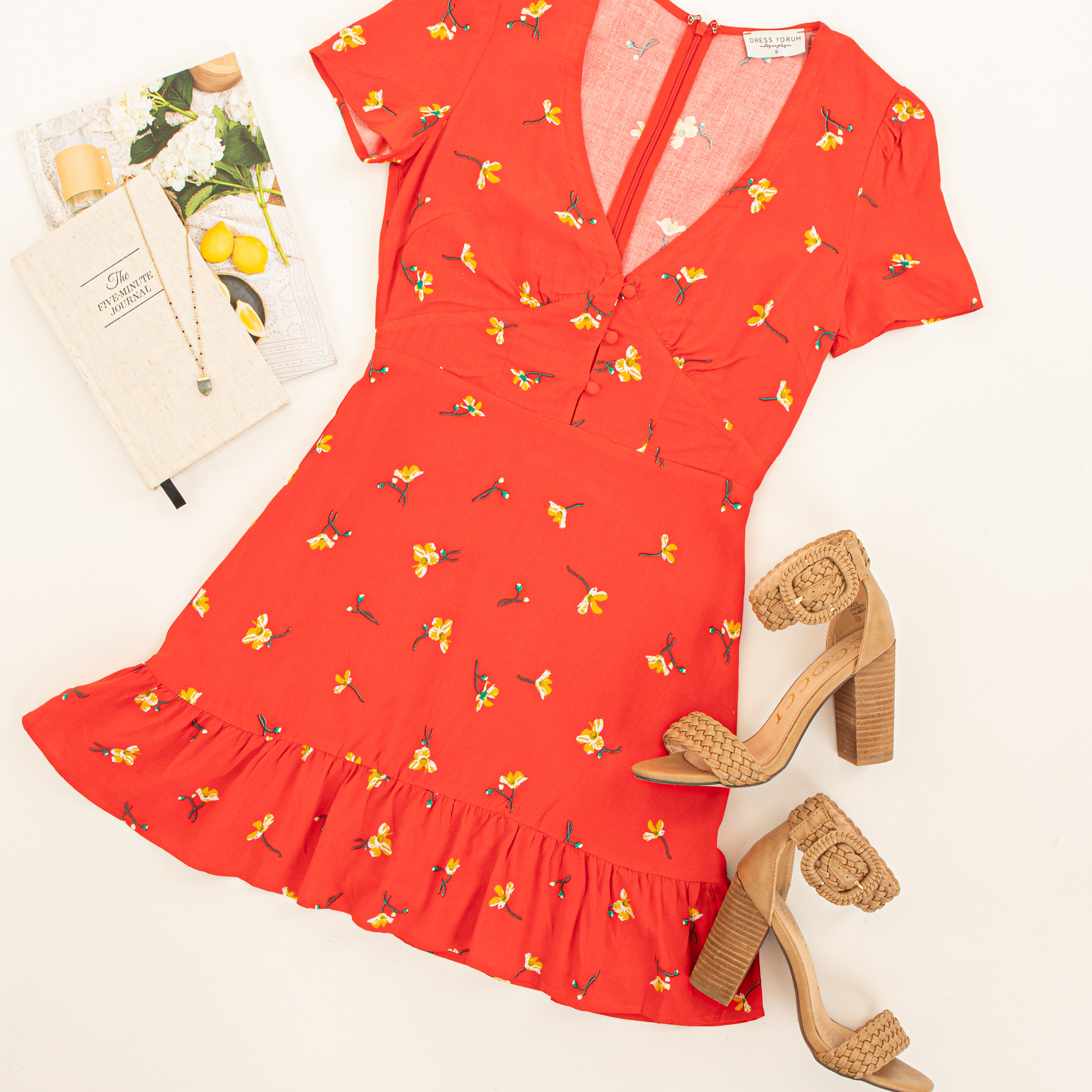 Red Floral Mini Dress with Ruffled Hemline and Buttons
