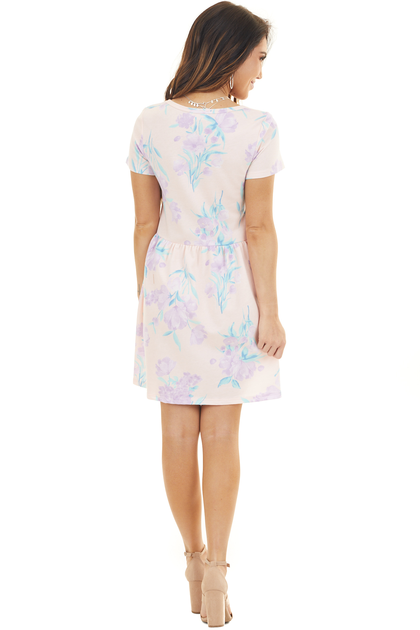 Peach and Lilac Floral Short Dress with Drop Waist