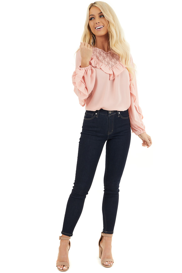 Blush Long Bubble Sleeve Top with Ruffle and Lace Details front full body