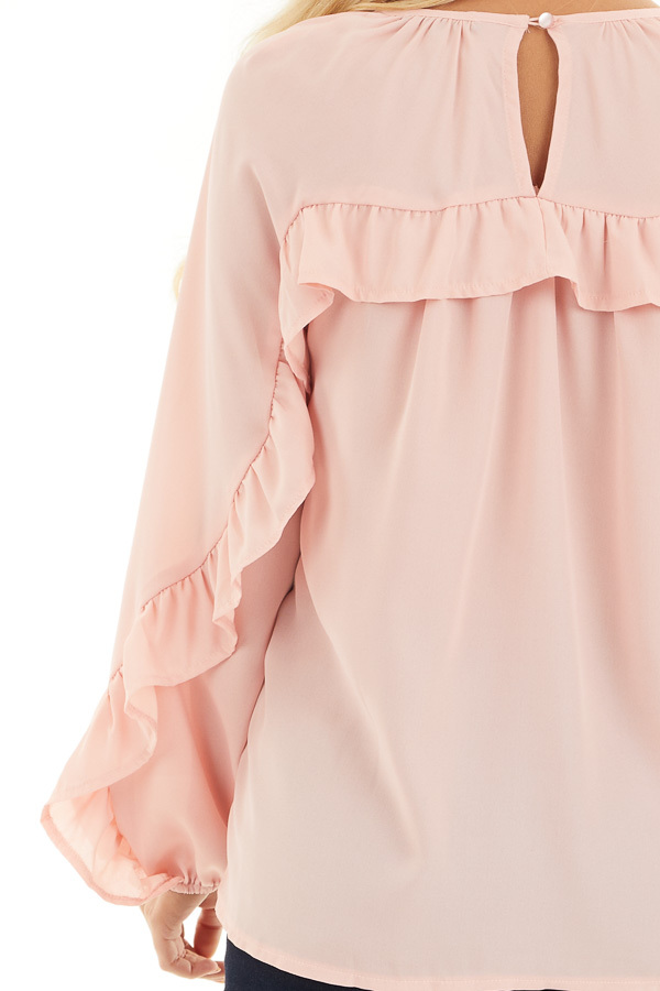 Blush Long Bubble Sleeve Top with Ruffle and Lace Details detail