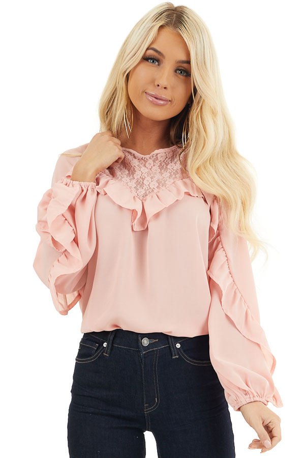 Blush Long Bubble Sleeve Top with Ruffle and Lace Details front close up