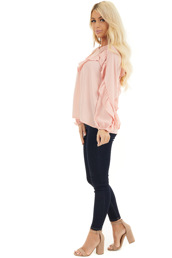Blush Long Bubble Sleeve Top with Ruffle and Lace Details side full body