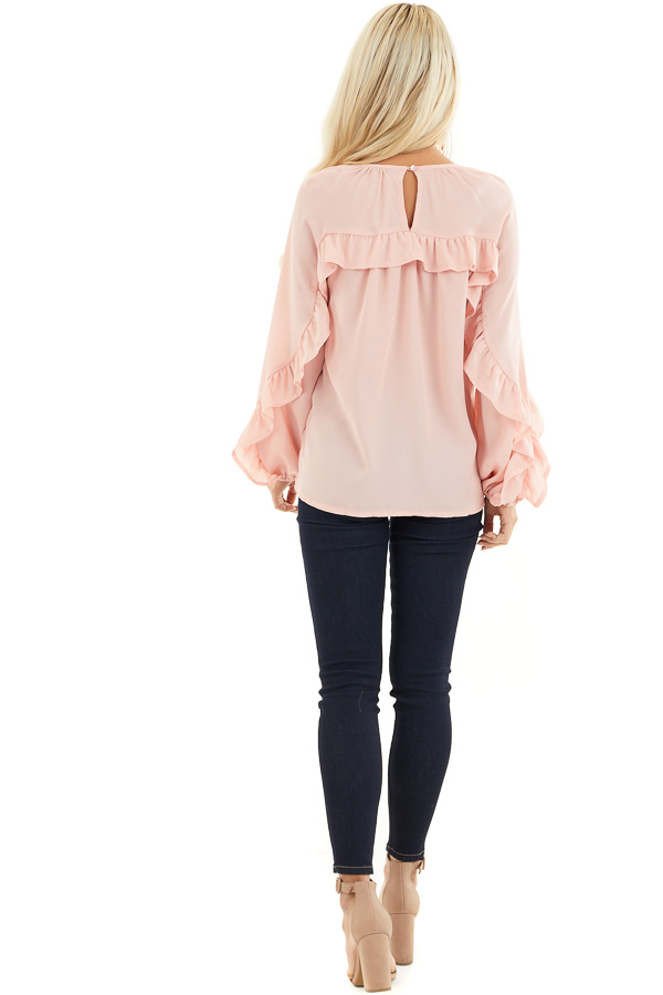 Blush Long Bubble Sleeve Top with Ruffle and Lace Details back full body