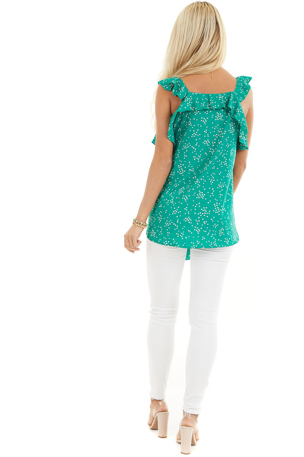 Kelly Green Dotted Print Ruffled Woven Top with Front Knot back full body
