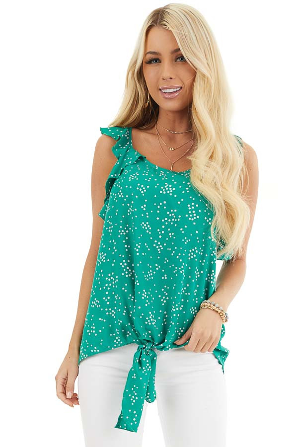 Kelly Green Dotted Print Ruffled Woven Top with Front Knot front close up