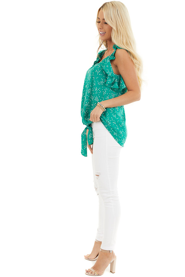 Kelly Green Dotted Print Ruffled Woven Top with Front Knot side full body