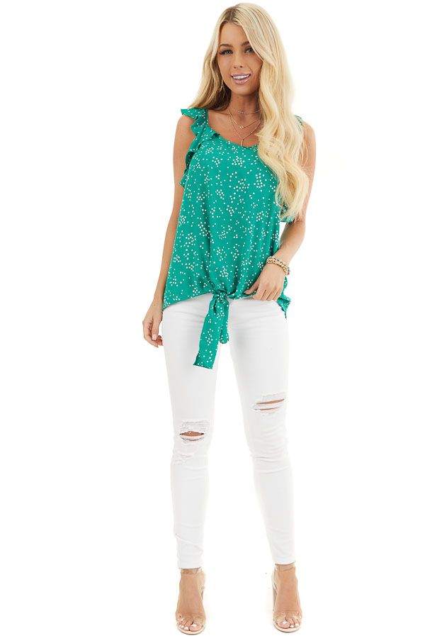 Kelly Green Dotted Print Ruffled Woven Top with Front Knot front full body