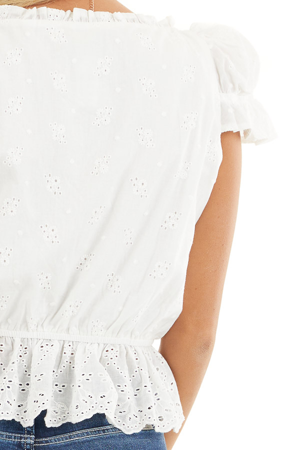 Ivory Short Sleeve Eyelet Lace Cropped Peplum Top with Tie detail