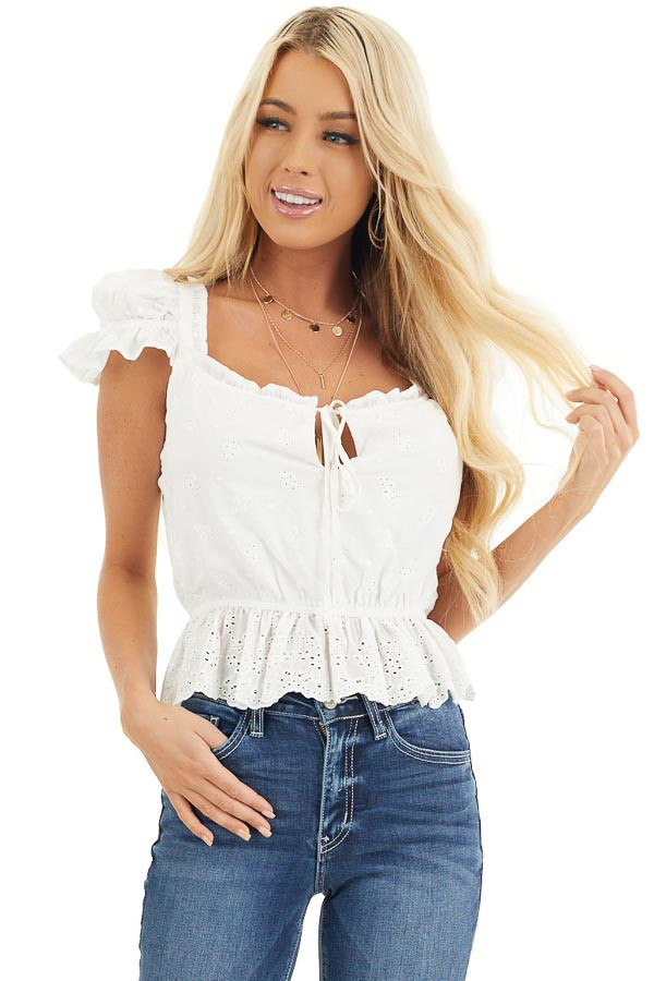 Ivory Short Sleeve Eyelet Lace Cropped Peplum Top with Tie front close up
