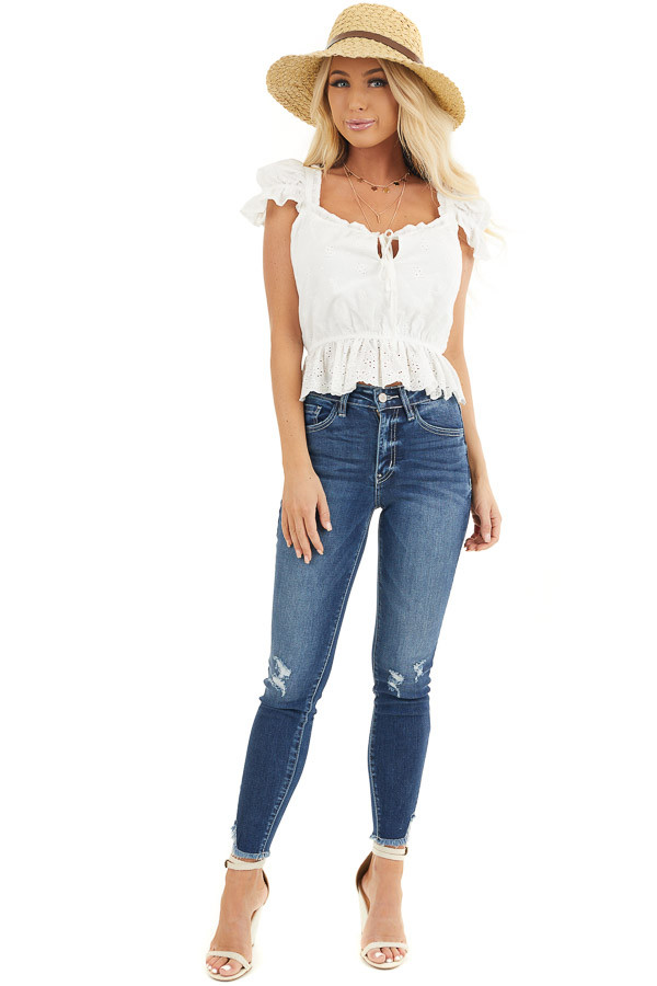 Ivory Short Sleeve Eyelet Lace Cropped Peplum Top with Tie front full body