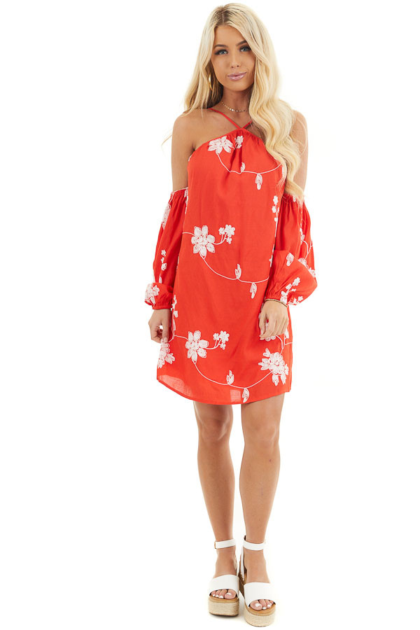 Red Cold Shoulder Mini Dress with White Embroidered Flowers front full body