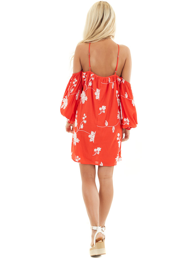 Red Cold Shoulder Mini Dress with White Embroidered Flowers back full body
