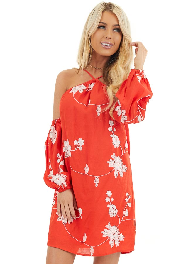 Red Cold Shoulder Mini Dress with White Embroidered Flowers front close up