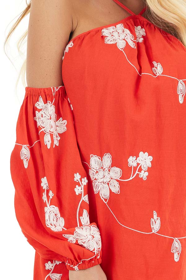 Red Cold Shoulder Mini Dress with White Embroidered Flowers detail