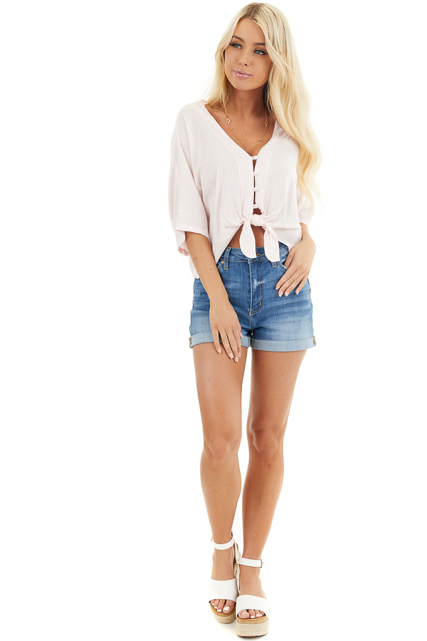 Pink and White Striped Button Up Crop Top with Front Tie front full body