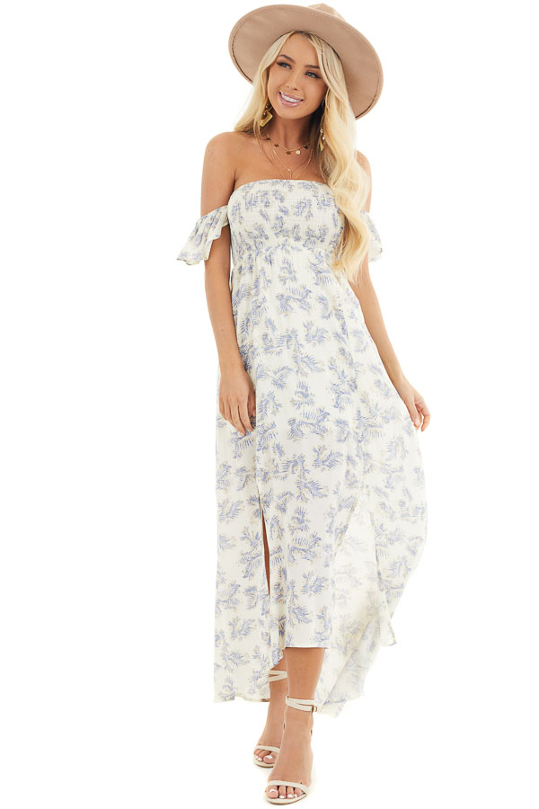 Cream Leaf Print Off the Shoulder Maxi Dress with Smocking front full body