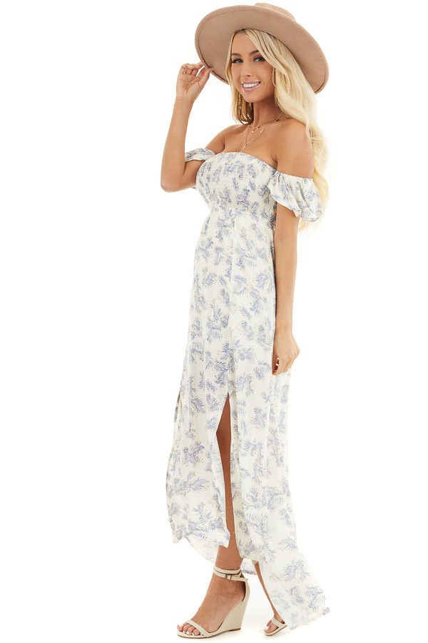 Cream Leaf Print Off the Shoulder Maxi Dress with Smocking side full body