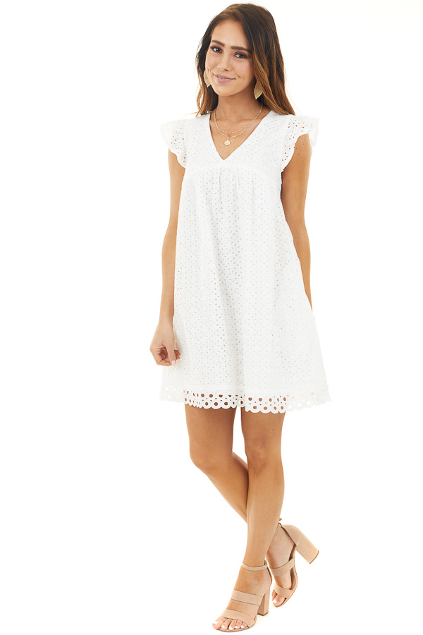 Eggshell Eyelet Mini Dress with Ruffle Detail