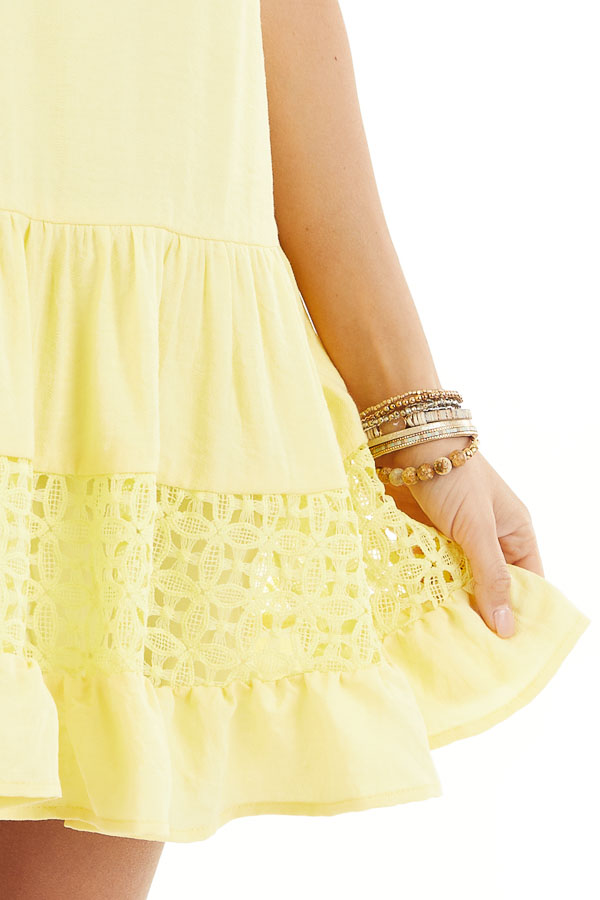 Lemon Yellow Sleeveless Dress with Lace Details and Tie detail