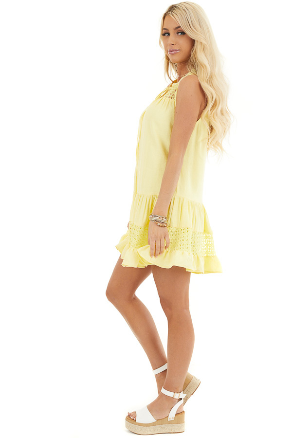 Lemon Yellow Sleeveless Dress with Lace Details and Tie side full body