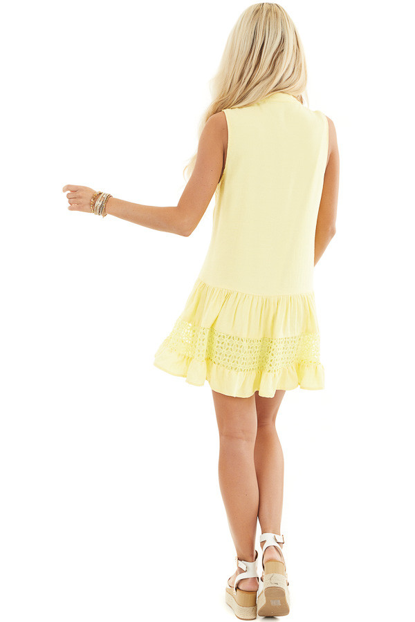 Lemon Yellow Sleeveless Dress with Lace Details and Tie back full body
