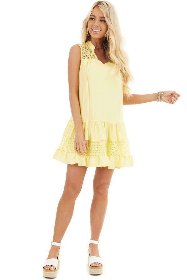 Lemon Yellow Sleeveless Dress with Lace Details and Tie front full body