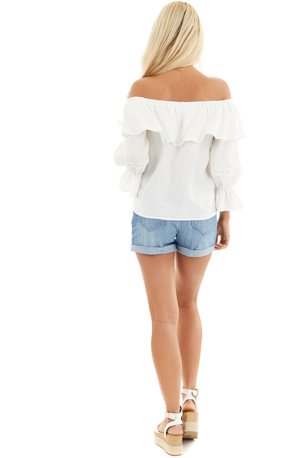 Ivory Off the Shoulder Top with Lace and Ruffle Details back full body