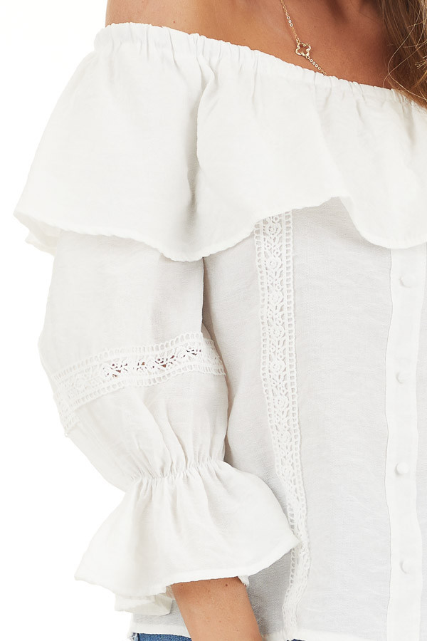 Ivory Off the Shoulder Top with Lace and Ruffle Details detail