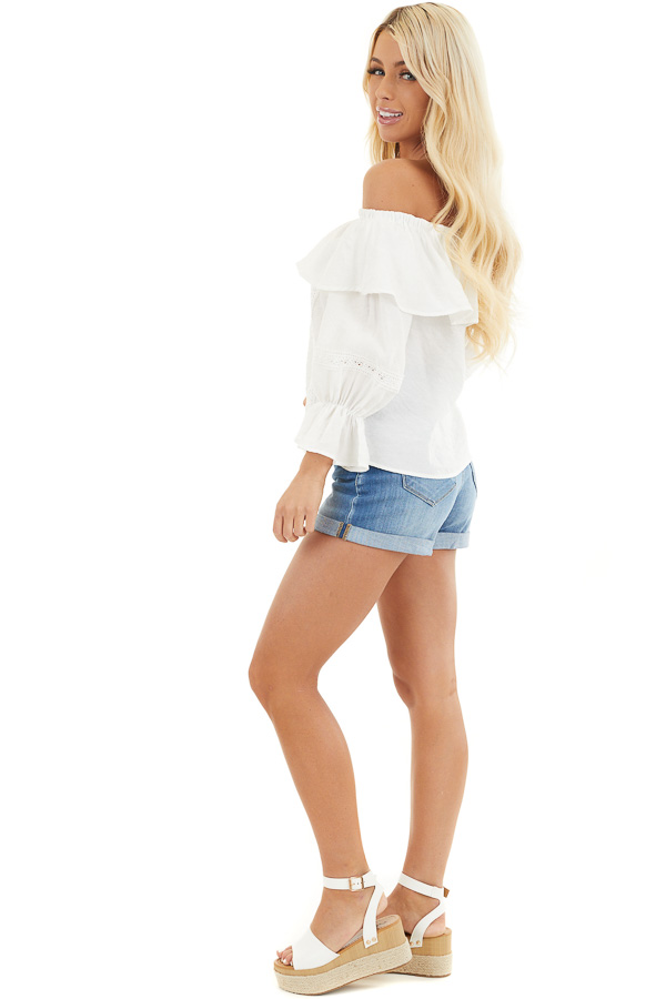 Ivory Off the Shoulder Top with Lace and Ruffle Details side full body