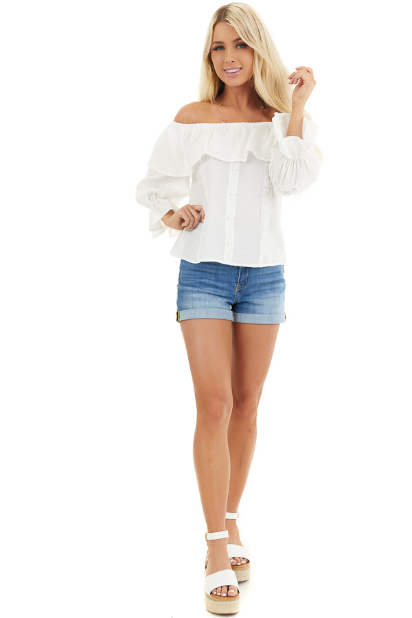 Ivory Off the Shoulder Top with Lace and Ruffle Details front full body