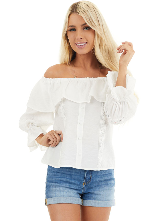 Ivory Off the Shoulder Top with Lace and Ruffle Details front close up
