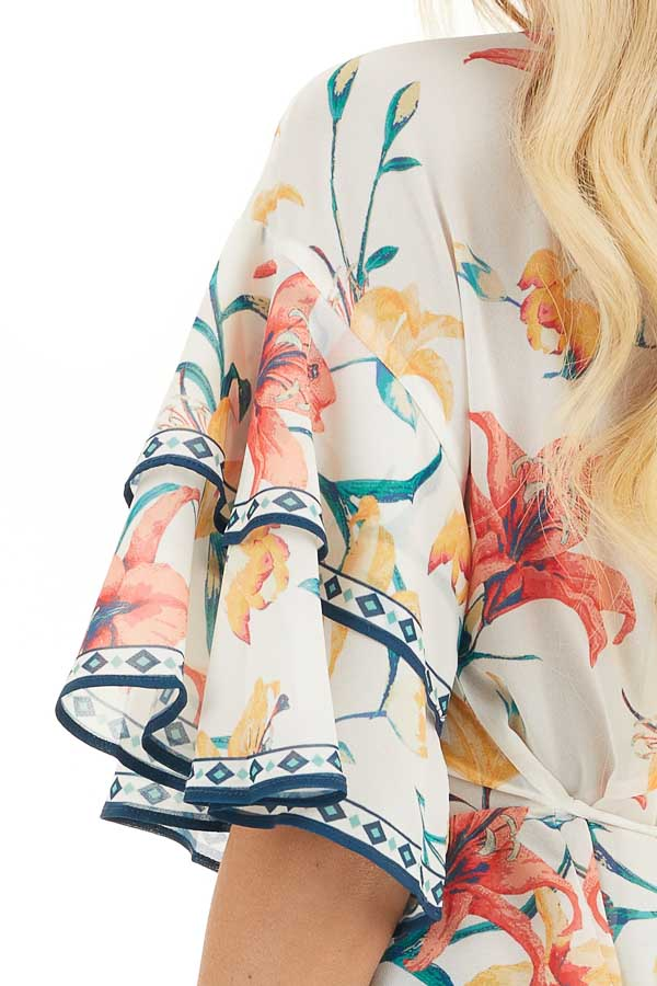 Ivory Floral Print Woven Top with Layered Bell Sleeves detail