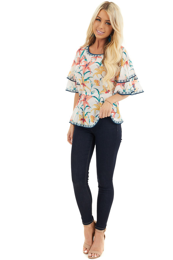 Ivory Floral Print Woven Top with Layered Bell Sleeves front full body