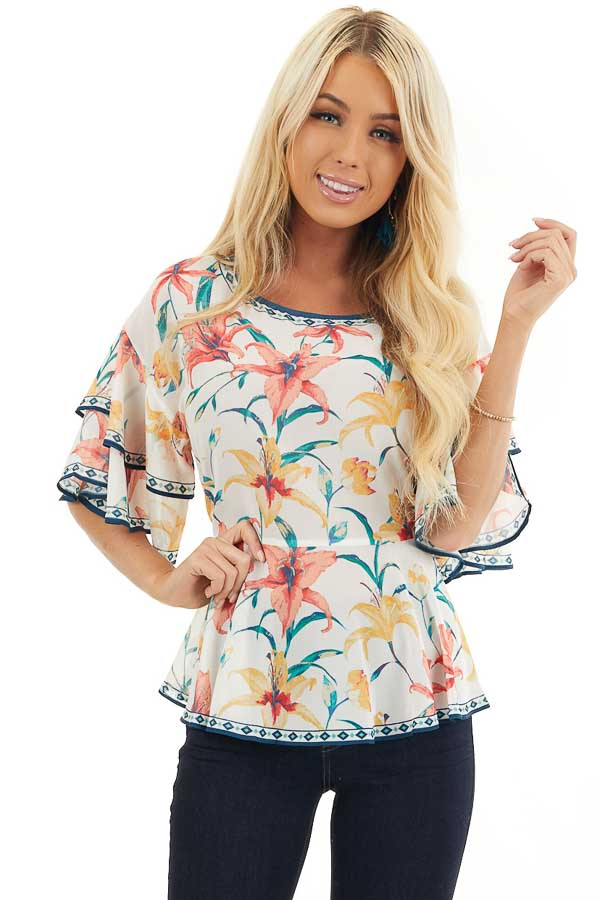 Ivory Floral Print Woven Top with Layered Bell Sleeves front close up