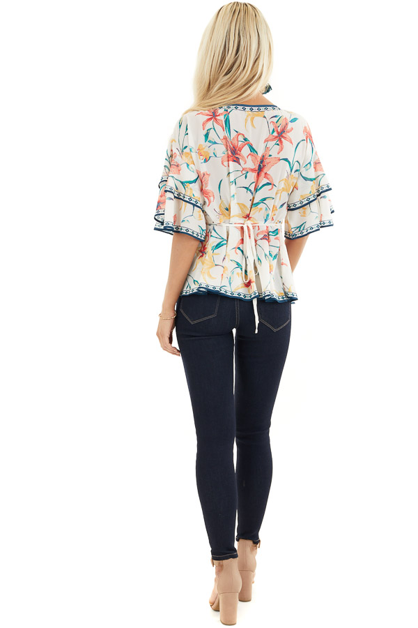 Ivory Floral Print Woven Top with Layered Bell Sleeves back full body